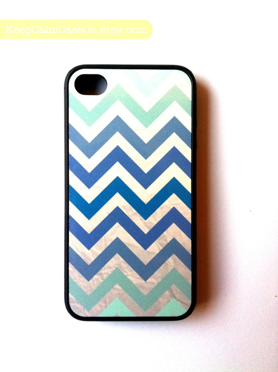 teal cheveron iphone 4 case $15.00