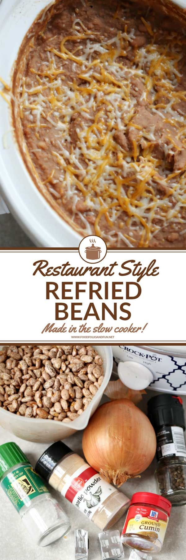 Restaurant Style Refried Beans recipe – these are the best refried beans! They're made in the crock-pot and taste just like they came from your favorite Mexican restaurant!