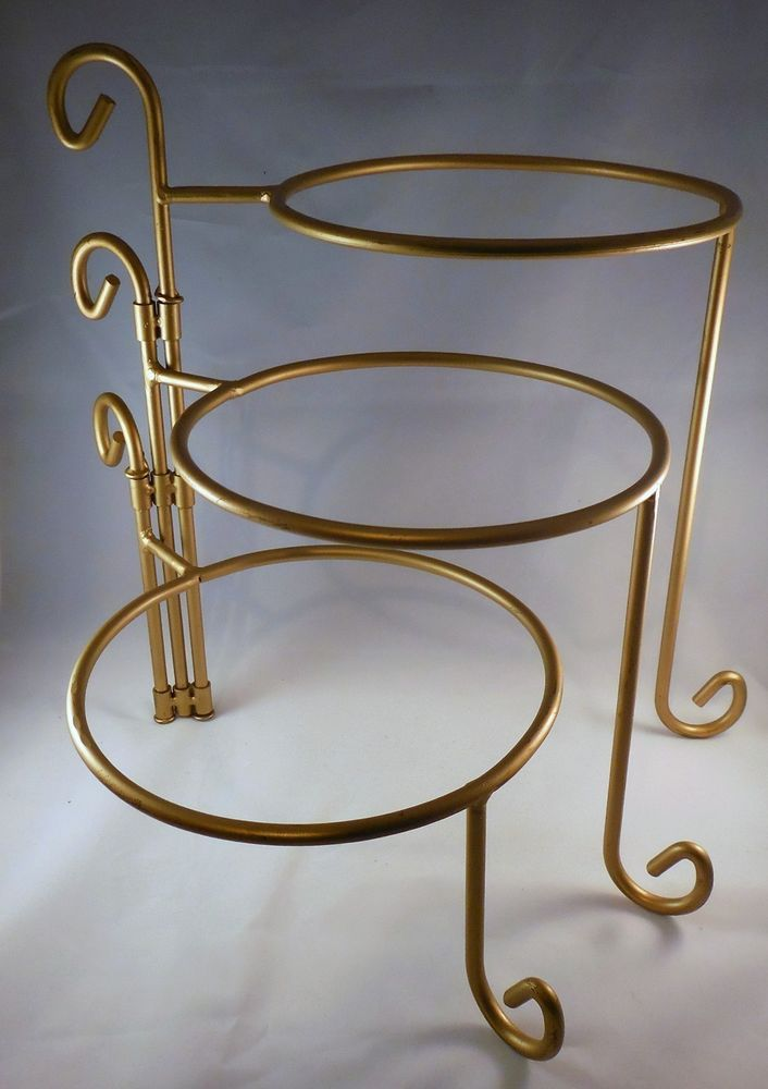 Gold 3 Tier Wrought Iron Swivel Stand For Plates Pies