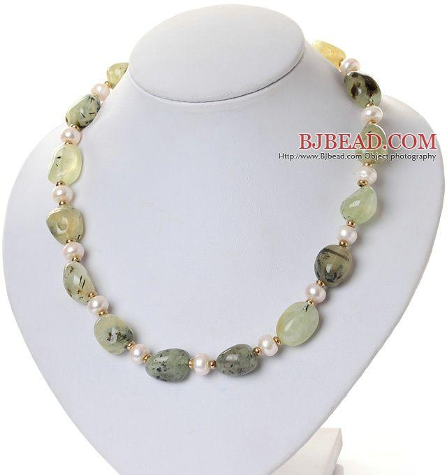 Moda Naturale 8 -9mm bianco perla d'acqua dolce e Prehnite Strand collana con il catenaccio