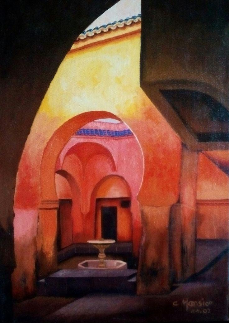 Int rieur marocain peinture l 39 huile christine monsion - Pinterest peinture a l huile ...