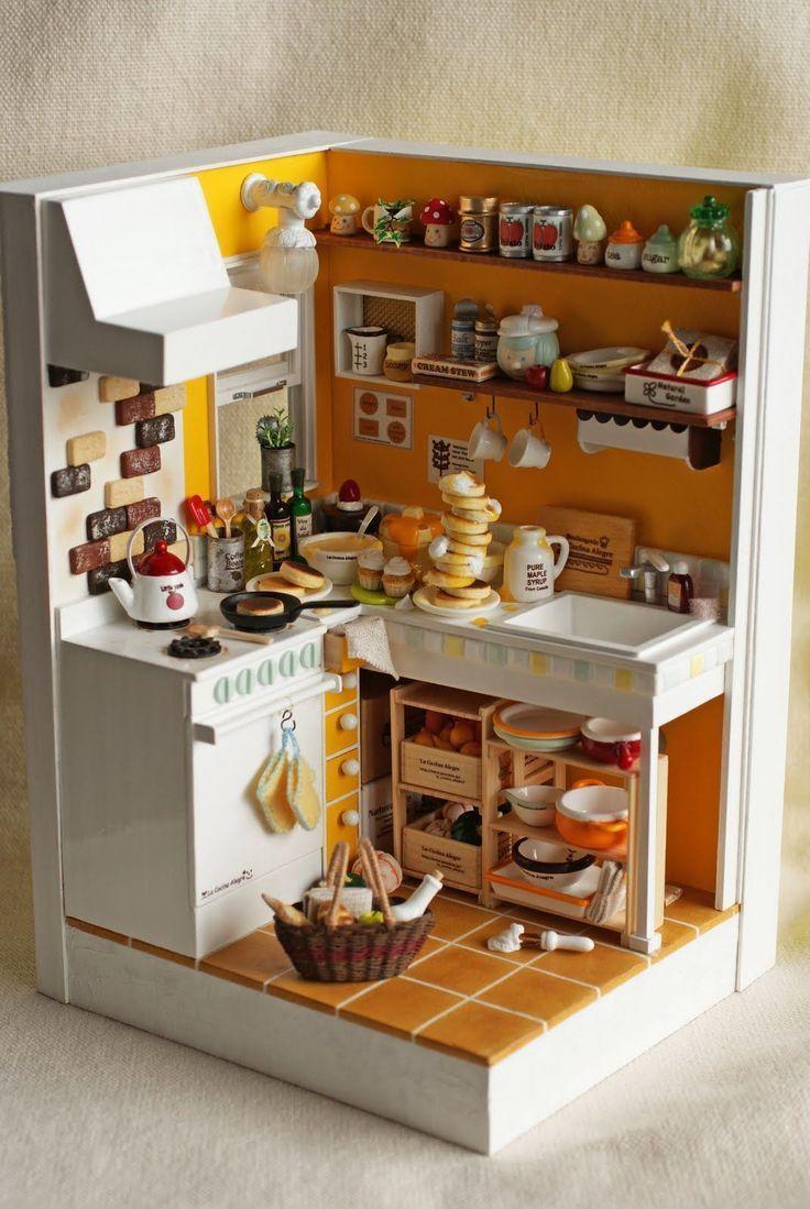 Dollhouse miniature cuisine en bois mur de la maison de décoration de pou FE