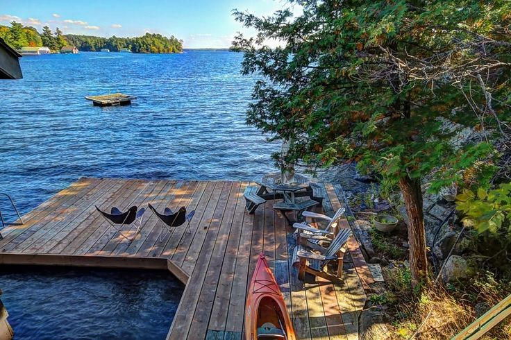Lake Muskoka cottage rental - Swimming dock, swimming raft, picnic table, canoes.  Best place to spend summer!