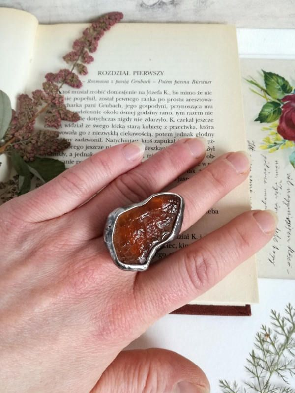 AMBER  RING, Raw Amber, Raw ring, statement ring, copper ring, boho ring, Adjustable ring , natural raw stone ring, Hand made by BUSTANI on Etsy