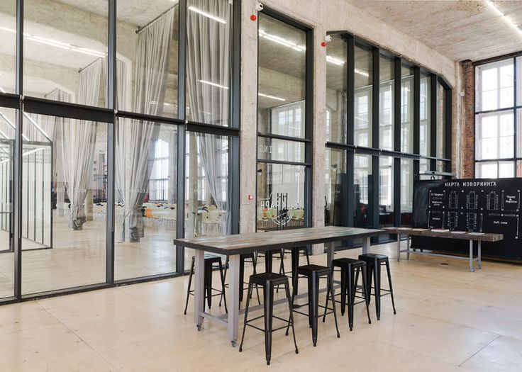 The top floor of this former soviet telecommunications building in the centre of Moscow has been converted into an open plan office for a technology company.