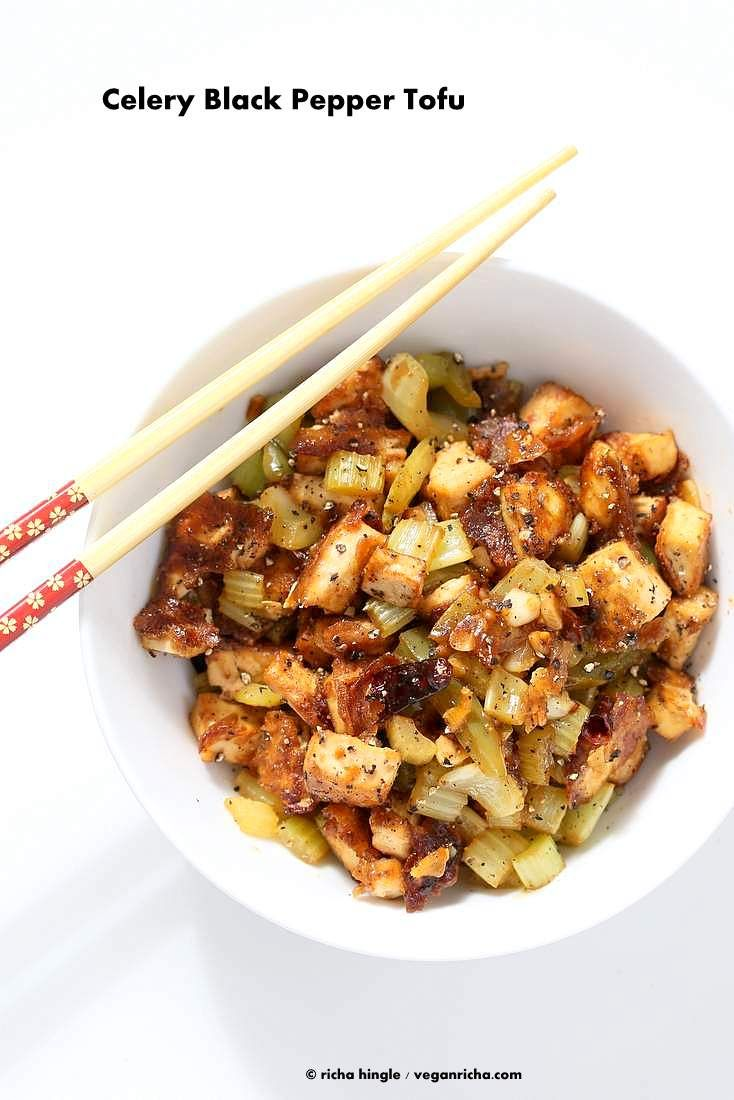 Celery Black Pepper Tofu - Quick Peppery Dinner or Lunch | VeganRicha.com