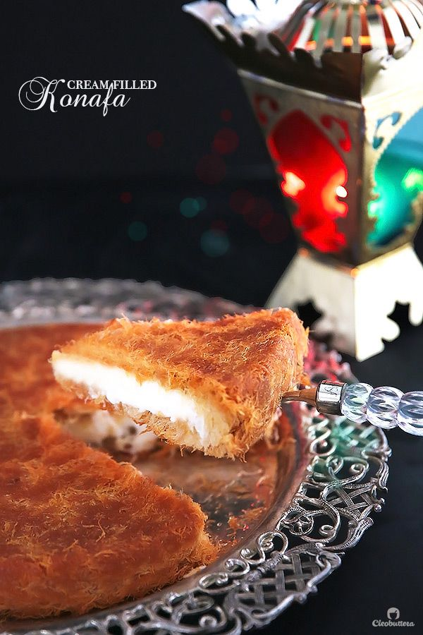A Middle-Eastern delicacy, made from crunchy shredded phyllo pastry, sandwiching a creamy, pudding-like filling, and soaked with vanilla scented simple syrup.