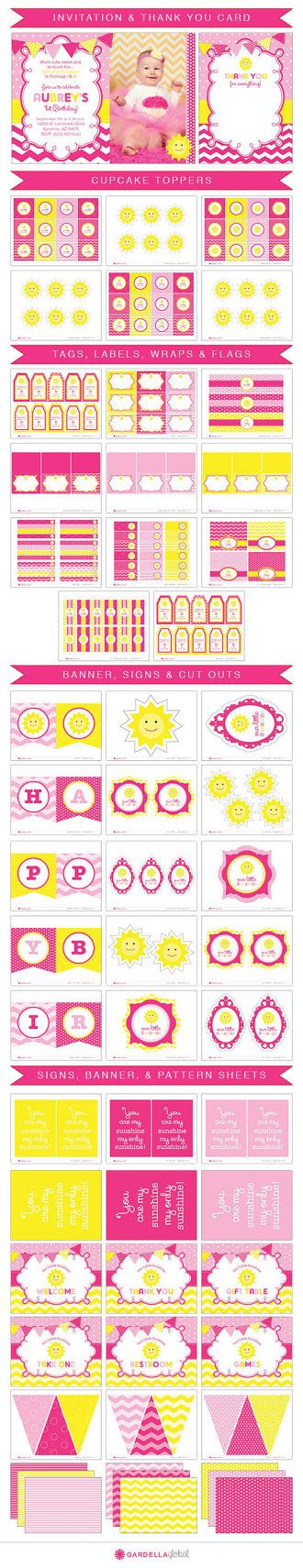 You are my Sunshine Birthday Invitation, Our little sunshine Birthday Invitation, Sunshine Birthday Invitation, You are my Sunshine invitation, our little sunshine invitation, sunshine invitation, our little sunshine invite, sunshine invite, Birthday Invitation, Party, Lemonade Invite, Lemonade Invitation, Lemonade Birthday, Photo, DIY, Printable, 1st Birthday, Pink, Yellow, Cupcake Toppers, Cake, Banner, Highchair Banner, Party Decorations, Sun, Chevron, Polkadots, Chalkboard