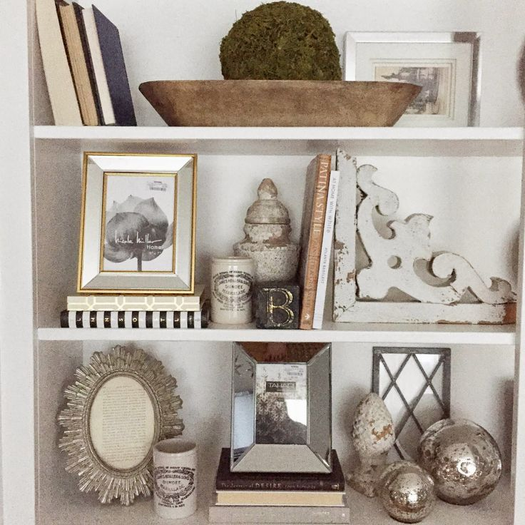 12th and white shelf decorating neutrals with chippy and mixed metals - How To Decorate Bookshelves