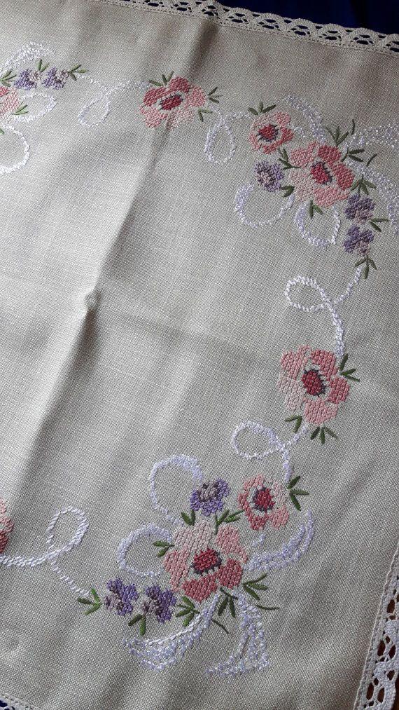 Manteles vintage con punto de Cruz bordado flores