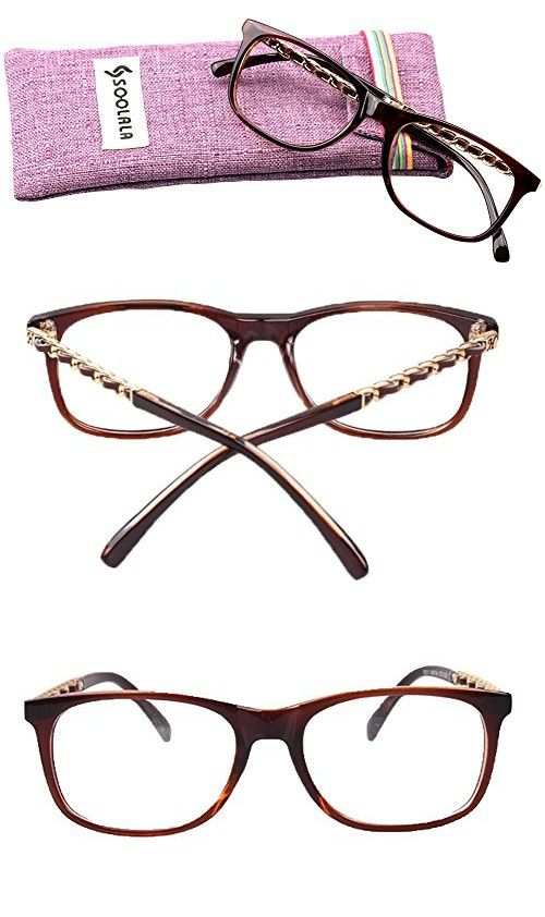 5f46ad2e33 SOOLALA Square Clear Lens Glasses Frame Magnifying Reading Glasses  Customized Strengths