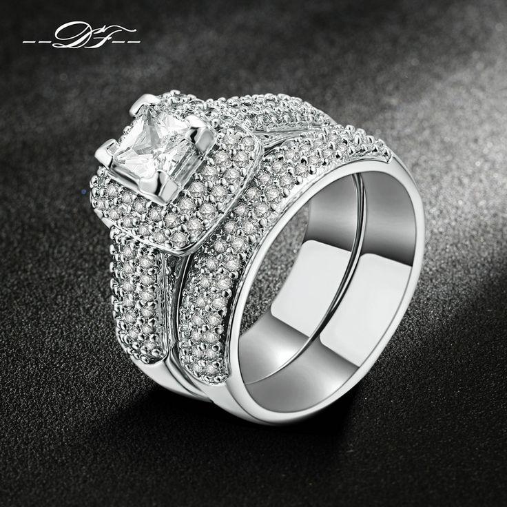 トップ品質ホワイトゴールドメッキaaa +キュービックジルコニア指輪セットファッションブランドジュエリー結婚式&婚約リング用女性DFR568