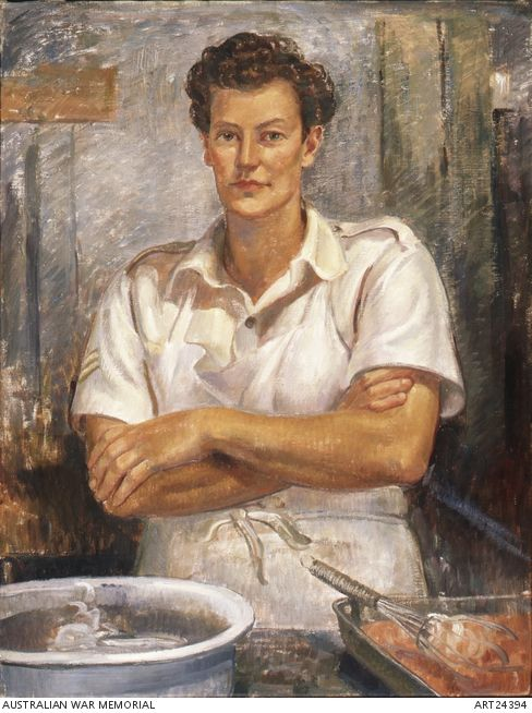 A portrait of Corporal Joan Beatrice Whipp, a cook from the Women's Auxiliary Australian Air Force. Whipp is preparing bully beef. by War artist Nora Heysen