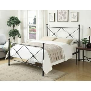 PRI All-In-1 Metal Queen-Size X Headboard and Bed Frame in Black DS-2643-290 at The Home Depot - Mobile