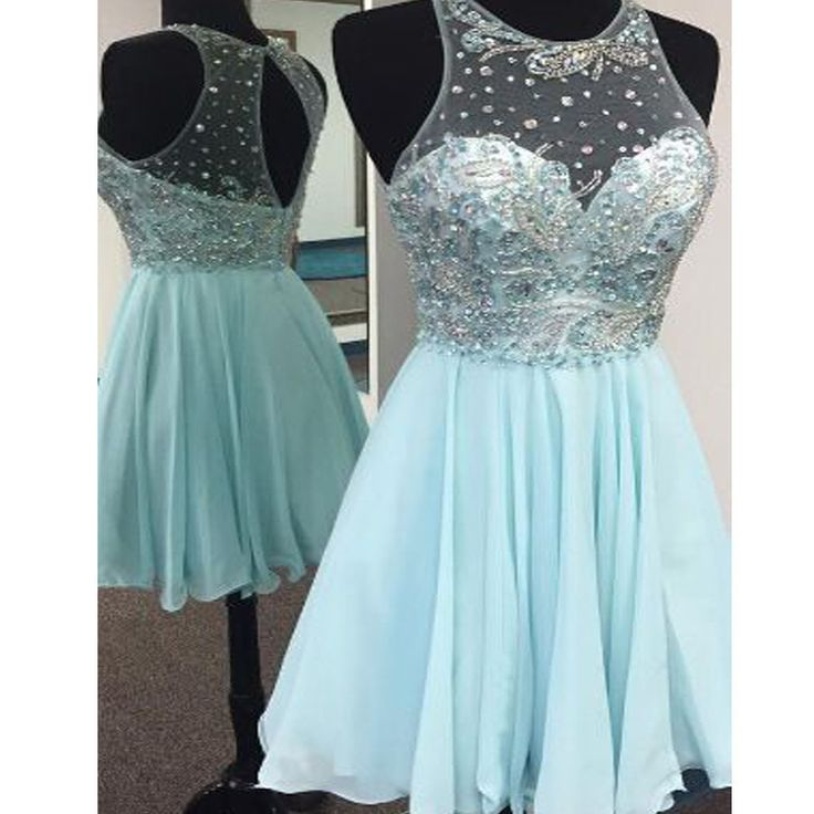 Short Tiffany Blue sparkly cute freshman cocktail homecoming prom dress The short sparkly cocktail homecoming dresses are fully lined, 8 bones in the bodice, chest pad in the bust, lace up back or zip