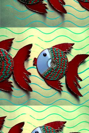 Fish craft with cardboard paper and CD by Nabanita