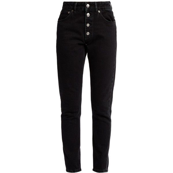 Balenciaga Tube high-rise straight-leg jeans ($695) ❤ liked on Polyvore featuring jeans, black, highwaist jeans, high waisted jeans, high rise straight leg jeans, slouch jeans and high rise jeans