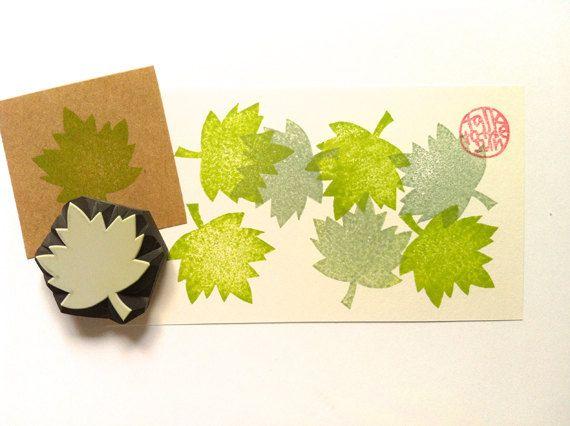 maple leaf stamp. leaf hand carved rubber stamp. by talktothesun