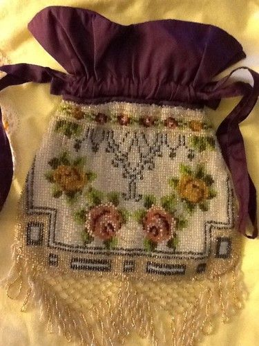 Beautiful Victorian Beaded Floral bag