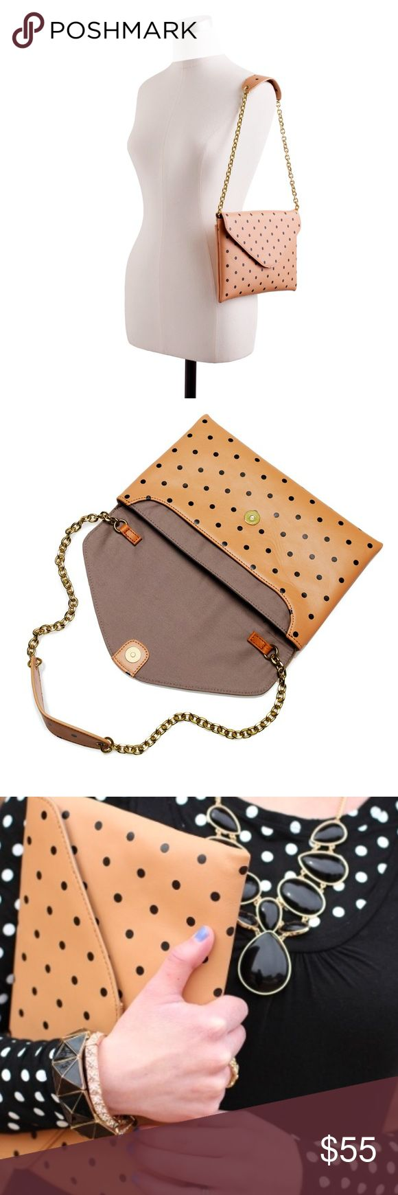 """J. Crew Invitation Clutch in Dot w/ Hideaway Chain From J. Crew:  """"Energetic dots are always on our """"do"""" list... Crafted in leather that'll last a lifetime and with a tuck-away golden chain, it has room to accommodate all your out-on-the-town essentials. Now in an unexpected black-on-tan color combo that's superversatile (and a not-so-girly version of one of our favorite clutches).  Leather. 11 1/2"""" handle drop. 7""""H x 11""""W x 3/4""""D.""""  This bag is NWT. One or two small marks on front of bag…"""