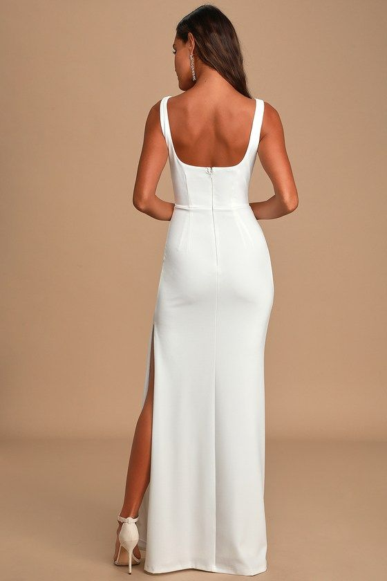 Special Day White Lace Sleeveless Mermaid Maxi Dress In 2020 Wedding Dresses Tight Fitted Formal Dresses For Women Dresses