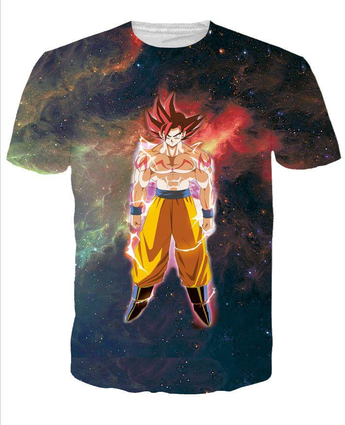 Goku Super Sayan God 3D Print T-shirt Cotton Unisex Tee Shirts Short Sleeve Casual Homme Loose Summer Tops Dragon Ball S #Affiliate