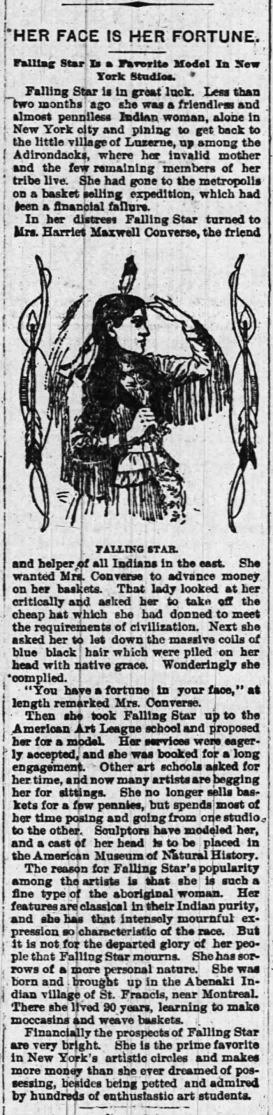 """Native girl """"Falling Star"""" becomes a New York model... Ottawa Journal 3May1897 - HER FACE IS HER FORTUNE,. l r - raUlag Star: Is..."""