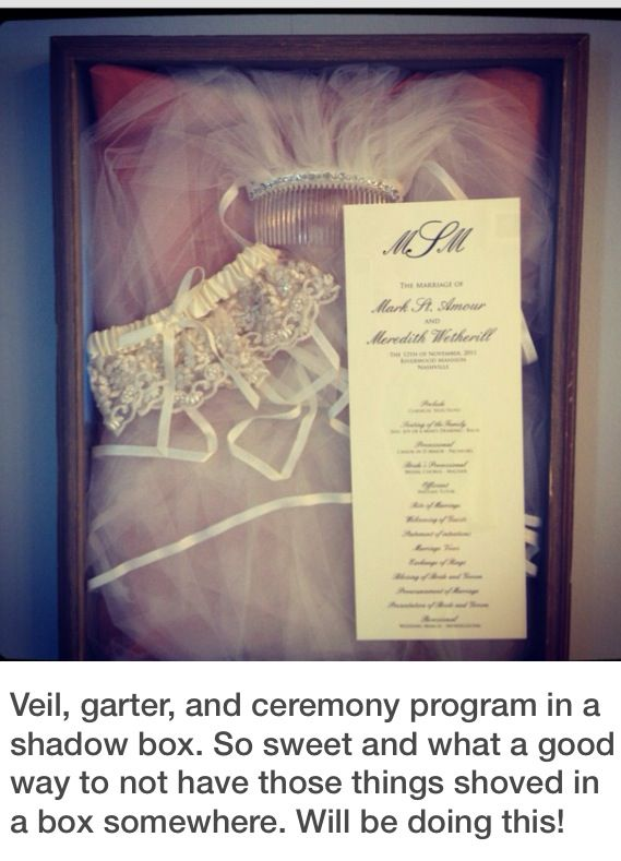 love this idea to preserve and display keepsakes from the wedding