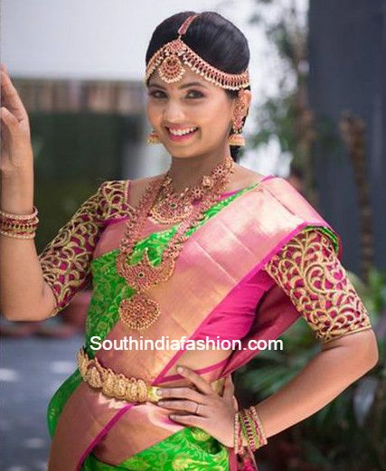 green_pattu_saree_cut_work_blouse.jpg (427×521)