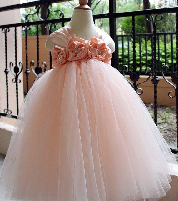 Flower Girl Dress Pear peach tutu dress baby dress toddler birthday dress wedding dress 1T 2T 3T 4T 5T 6T- 9T