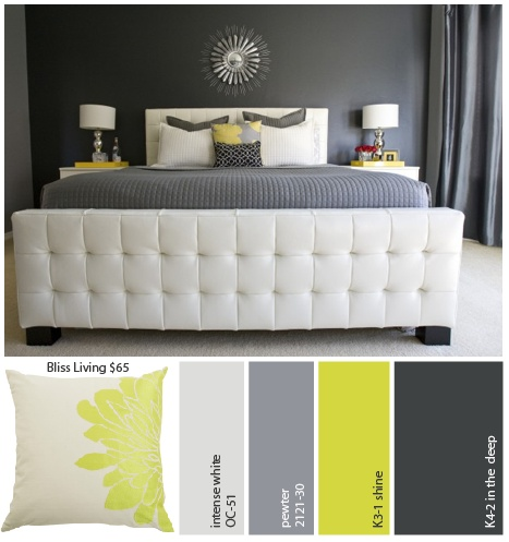 Love the bed and the grey walls. Pewter by Benjamin Moore