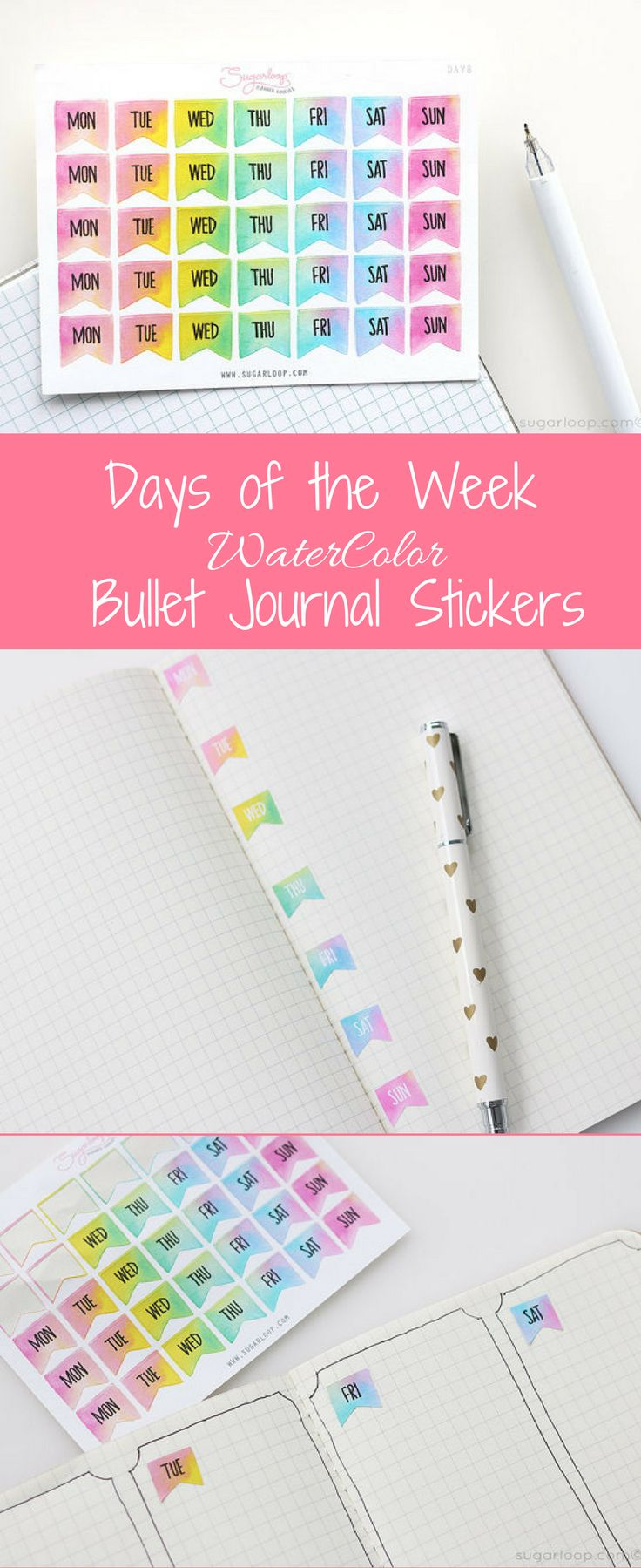 Days of the week water color bullet journal stickers #BulletJournal #BuJo #Planner #Organized #ToDo #DecorativePlannerStickers #WaterColor #DaysoftheWeek #Weekly #DecoStickers #Ad #Health#BossBabe #WorkatHome #WeekdayFlags #WeekdayStickers #WaterColorStickers #BulletJournalStickers #TravelersNotebook