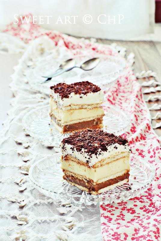 Zoete kunst - taartjes zonder oven  Google vertaald uit het Pools  (met o.a. gecondenseerde melk caramel, biscuitjes, pudding , slagroom en chocolade)
