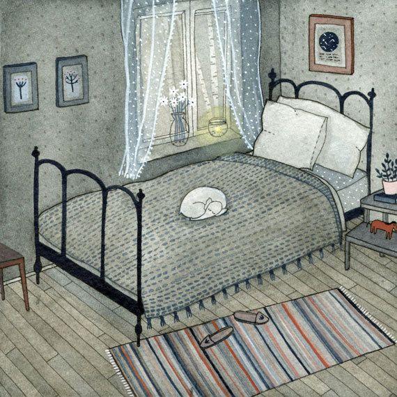 Very cute little sleeping elephant is featured in this bedroom print by ybryksenkova on Etsy, $15.00