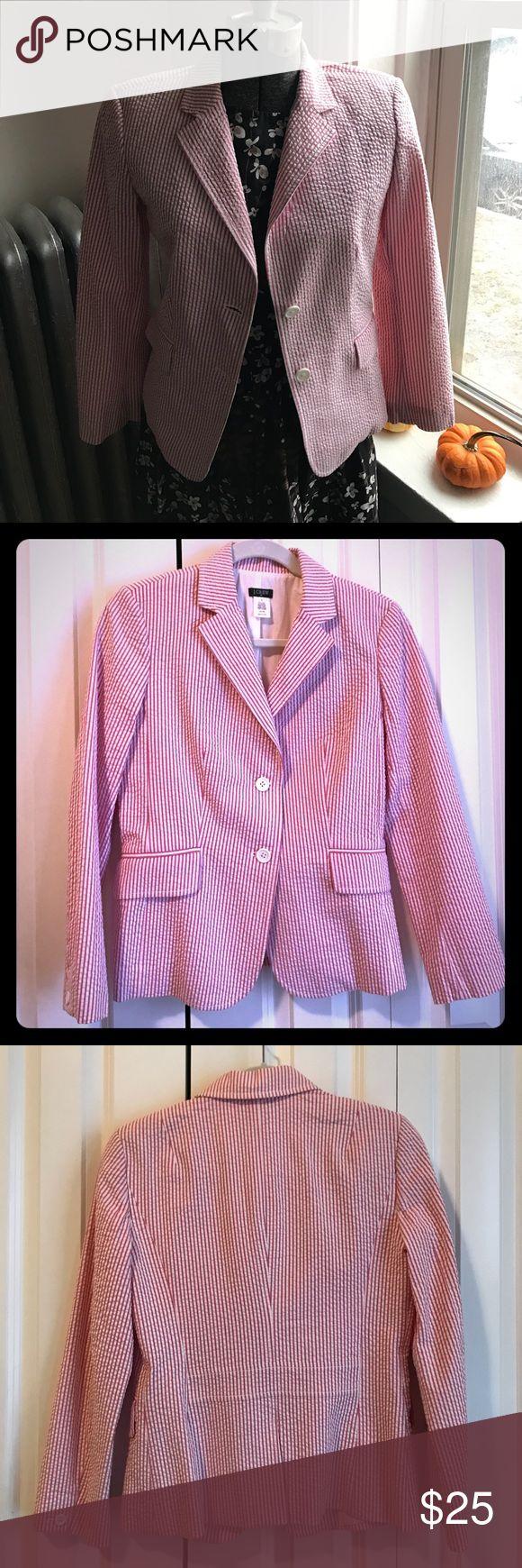 Pink and white J. crew searsucker suit jacket Pink and white sear sucker suit jacket. From J. Crew. Like new. J. Crew Jackets & Coats Blazers