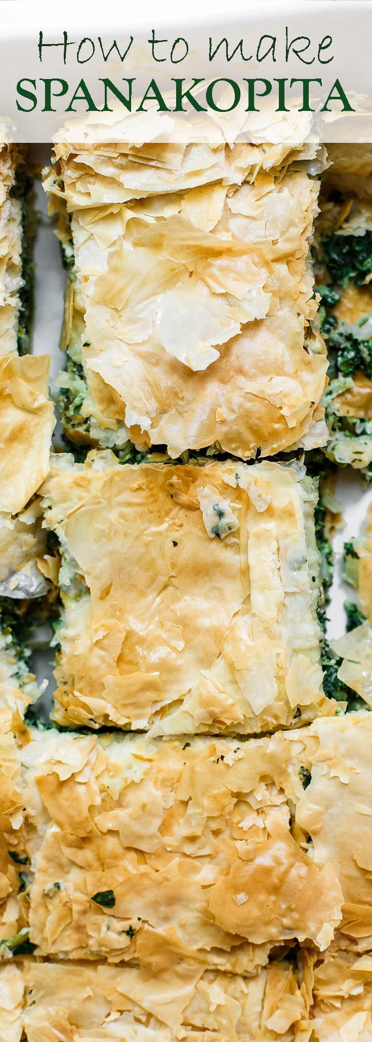 Spanakopita Recipe (Greek Spinach Pie) | The Mediterranean Dish. The best tutorial for how to make spanakopita. Greek spinach pie with crispy, golden phyllo and a soft filling of spinach, feta cheese, and herbs. A holiday recipe for make it for dinner! So easy.