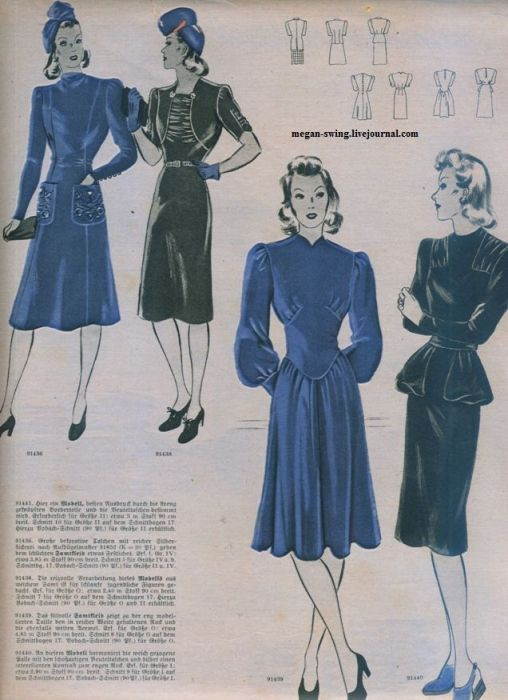 женская мода 40-х годов