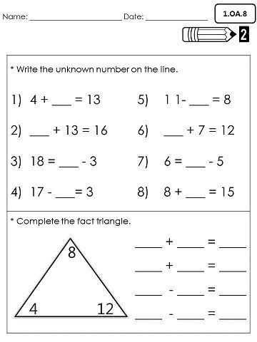 1st Grade Common Core Math Assessments- Operations and Algebraic Thinking  1.OA.8