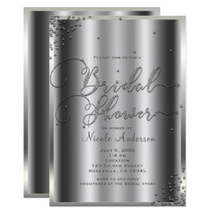 Bridal Shower Modern Silver Shine Glam Confetti Card - metal style gift ideas unique diy personalize