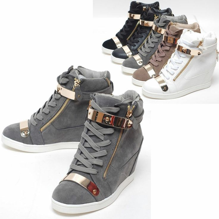 Women's Black High Top Fashion Sneakers New Womens Shoes High Top Gold