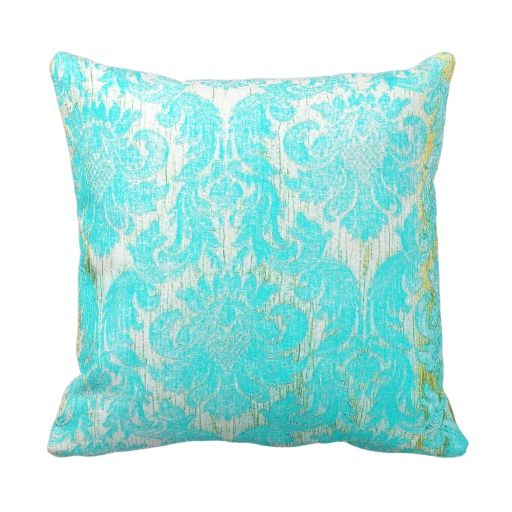 Antique Gold Decorative Pillows : Vintage elegant hipster gold turquoise damask chic throw pillow Vintage, Turquoise and Chic