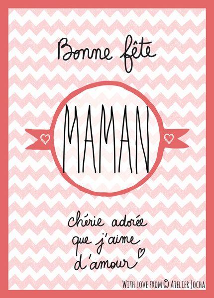 Carte postale Bonne fête Maman chérie adorée que j'aime d'amour.  Chevrons. http://atelierjocha.fr/boutique/bonne-fete-maman-chevrons/