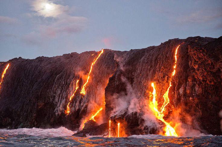 Vulcão Kilauea e lava no Havaí