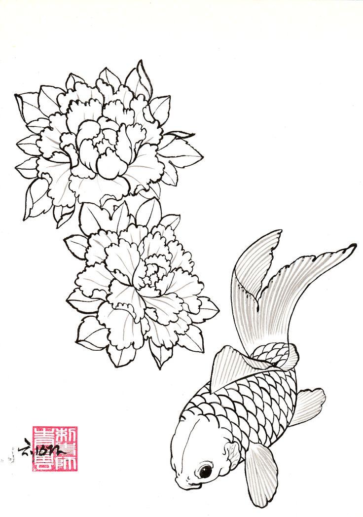 DRAWINGS | ChungWoon ART | TATTOO & ART #tattoo #oriental #peony #koifish #jdtattoo #청운