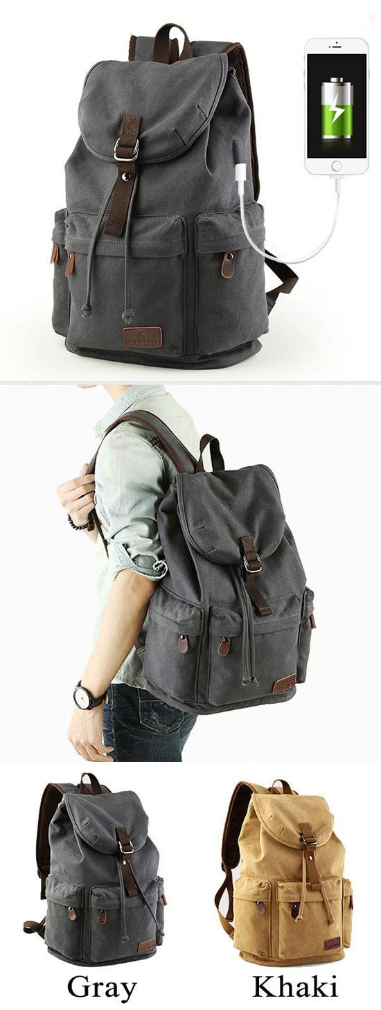 Retro Large Capacity Rucksack With USB Interface Flap Camping Travel Canvas Backpack for big sale! #retro #travel #camping #canvas #large
