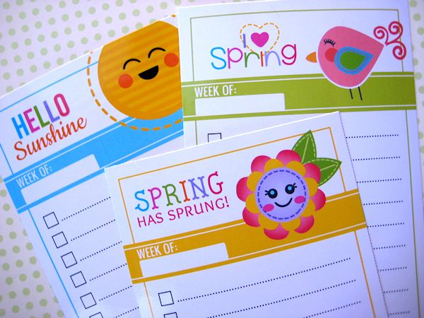 140 best printables images on pinterest free printables free printable springtime cuties to do lists negle Gallery