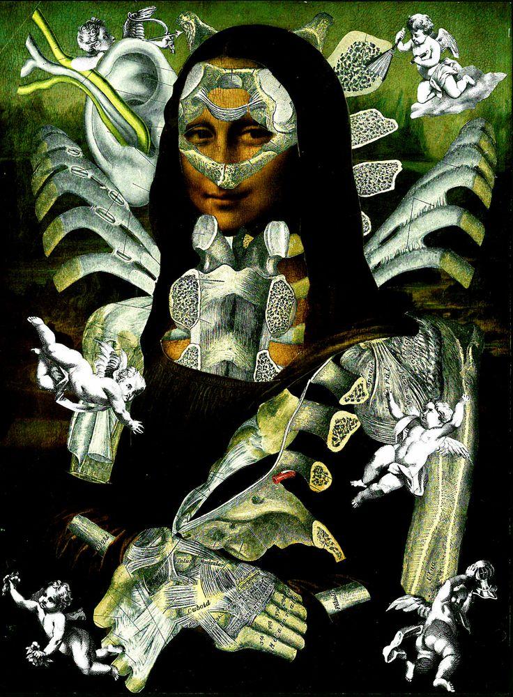 'Anatomonalisa'  Analog collage art by Dystopian Paper Ballads.  #collage #collageart #analogcollages #paperart #handmade #surrealism #anatomy #anatomicalart