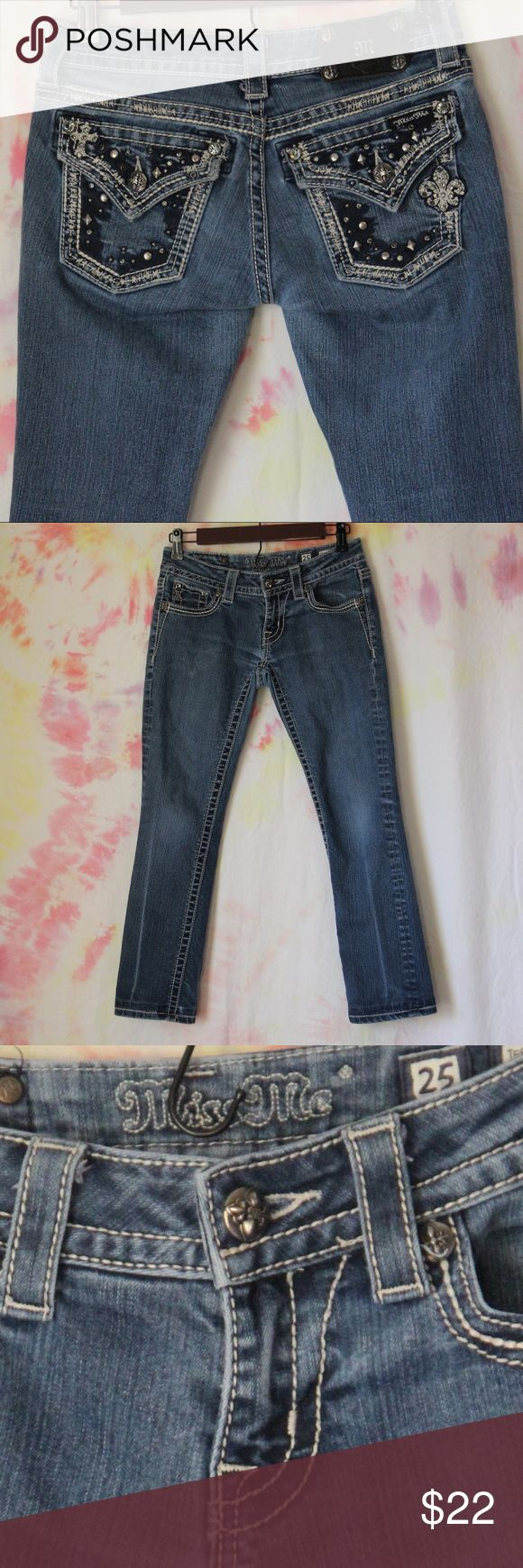 """Miss Me Brand Capri Jeans. Size 25 Size 25 Miss Me Brand.  Capri Style Inseam is 26""""  Great Condition, no rips, stains, or tears. The only flaw I could find can be seen in the photos. there is a line where the jeans have been folded for so long that look lighter than the rest of the jean. But otherwise, like new Miss Me Pants Capris"""