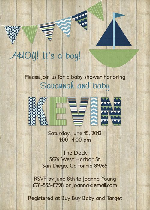 Sailboat baby boy shower invitation with by freshlysqueezedcards  freshlysqueezedcards.etsy.com