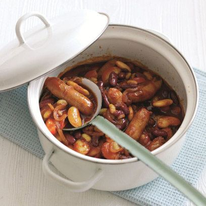 Beany Banger Bake This is a great one-pan dish. Served with good bread, it's a warming winter supper dish. (gluten free if using GF sausages)